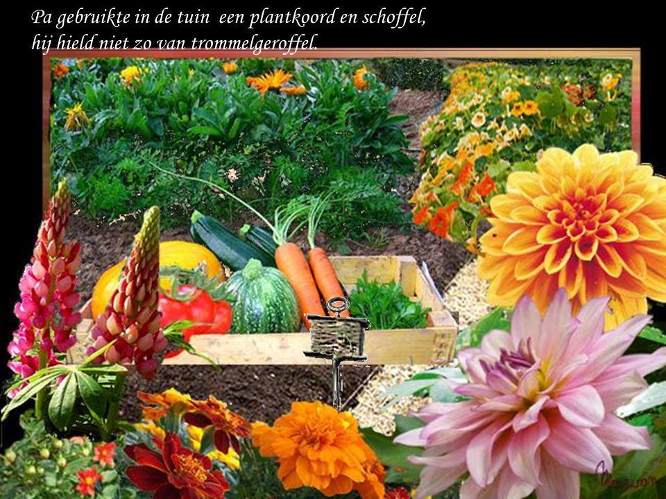 Pa gebruikte in de tuin een plantkoord en schoffel,