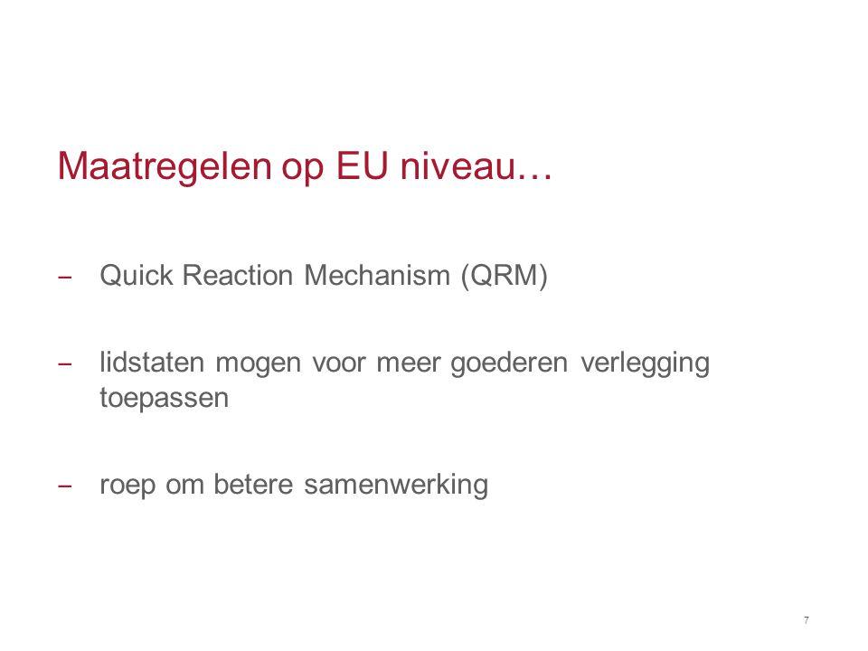 Maatregelen op EU niveau…