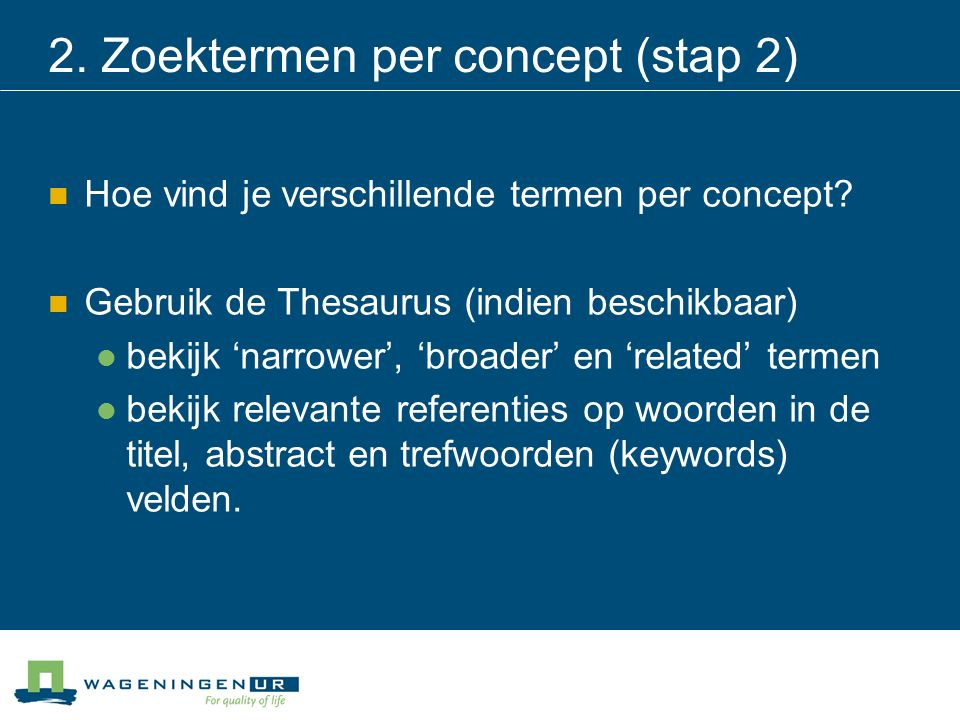 2. Zoektermen per concept (stap 2)