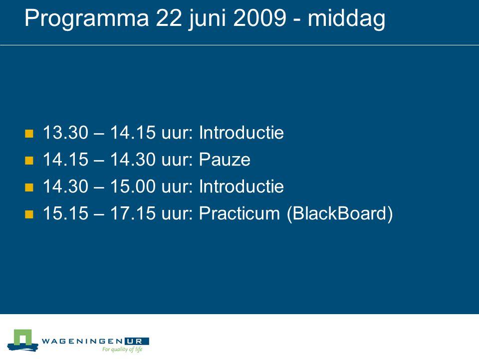 Programma 22 juni 2009 - middag