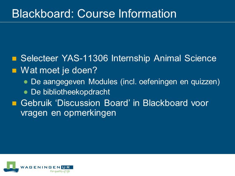 Blackboard: Course Information