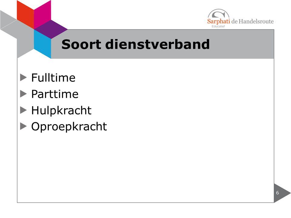 Soort dienstverband Fulltime Parttime Hulpkracht Oproepkracht