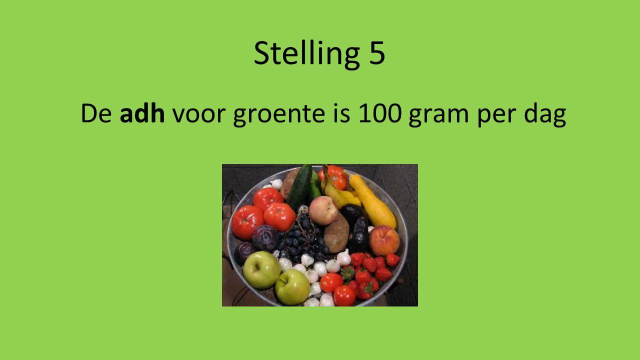 De adh voor groente is 100 gram per dag