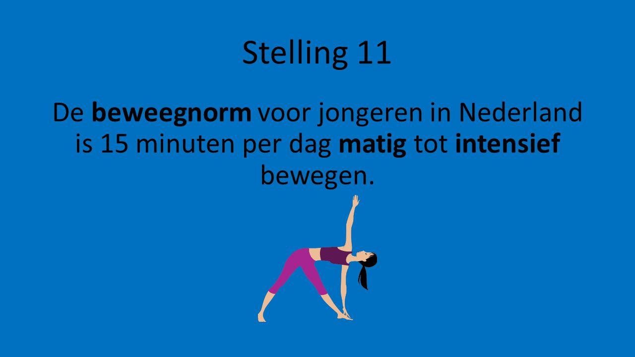 Stelling 11 De beweegnorm voor jongeren in Nederland is 15 minuten per dag matig tot intensief bewegen.