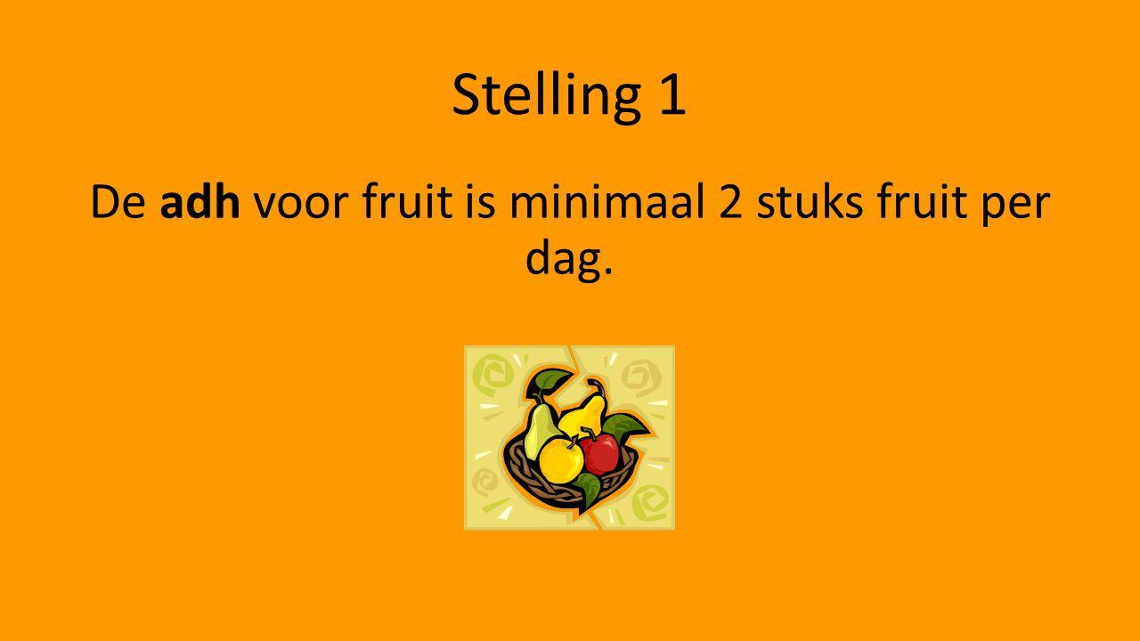 De adh voor fruit is minimaal 2 stuks fruit per dag.