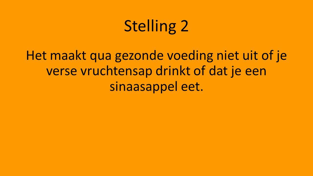 Stelling 2 Het maakt qua gezonde voeding niet uit of je verse vruchtensap drinkt of dat je een sinaasappel eet.