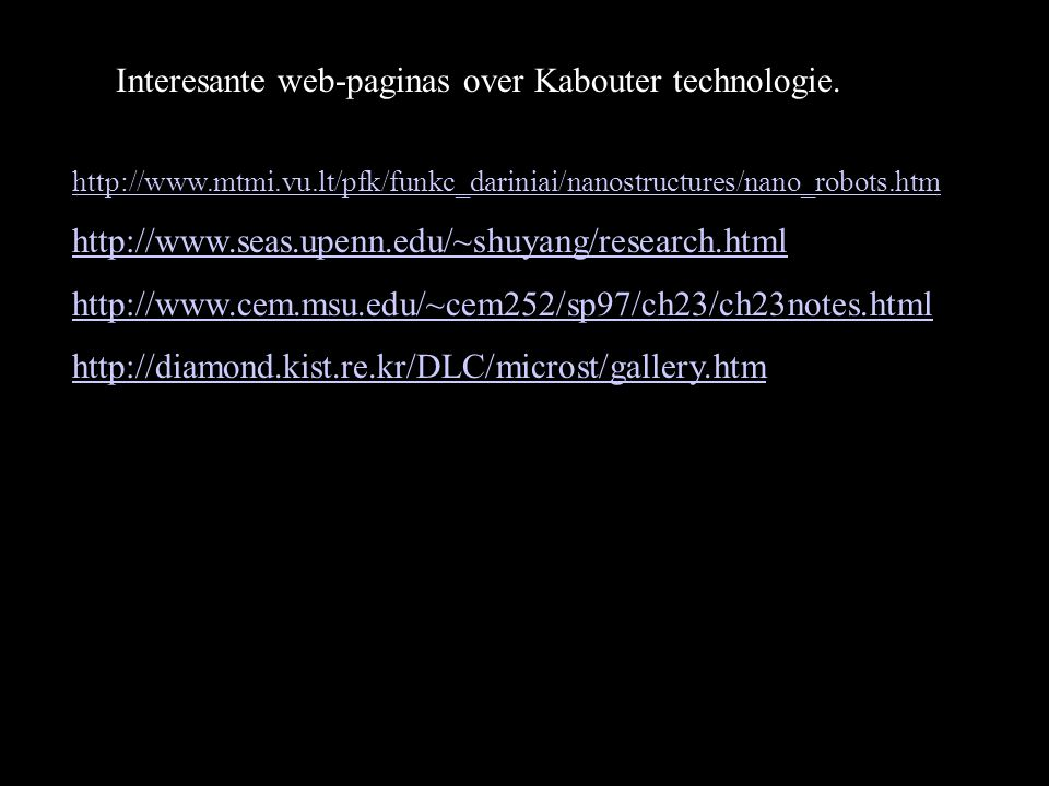 Interesante web-paginas over Kabouter technologie.