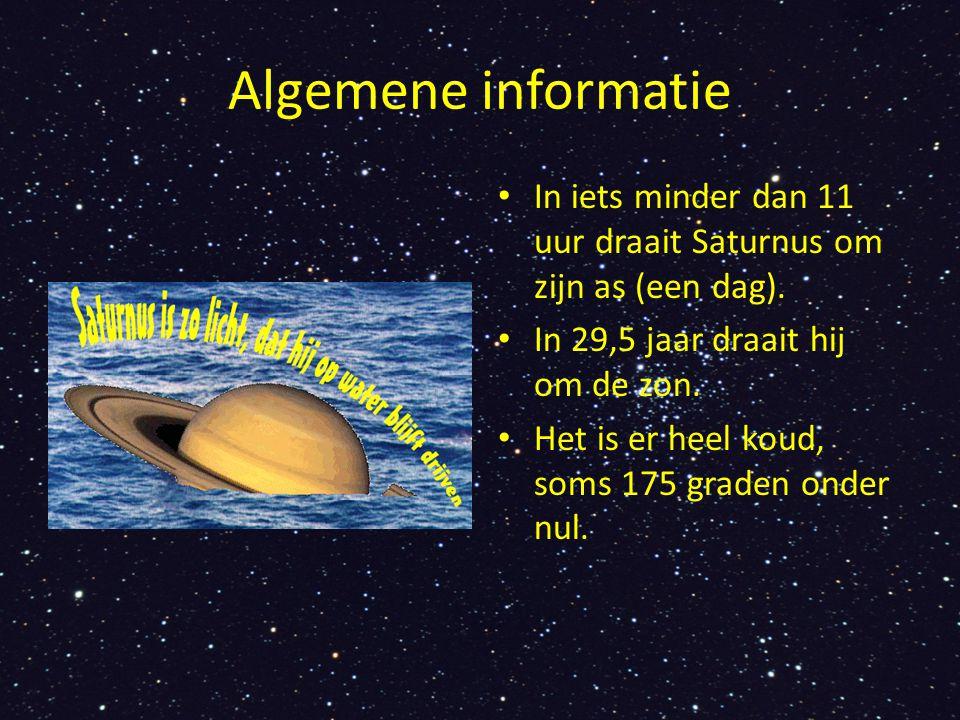 Algemene informatie In iets minder dan 11 uur draait Saturnus om zijn as (een dag). In 29,5 jaar draait hij om de zon.
