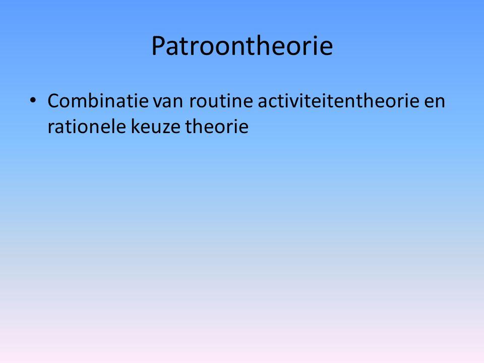 Patroontheorie Combinatie van routine activiteitentheorie en rationele keuze theorie