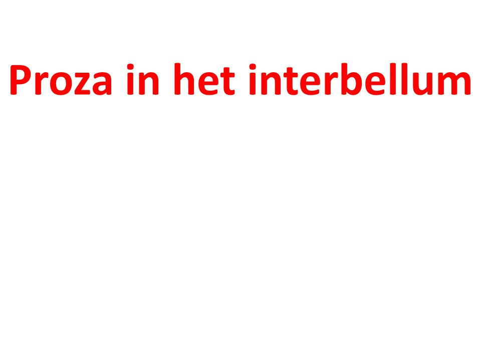 Proza in het interbellum