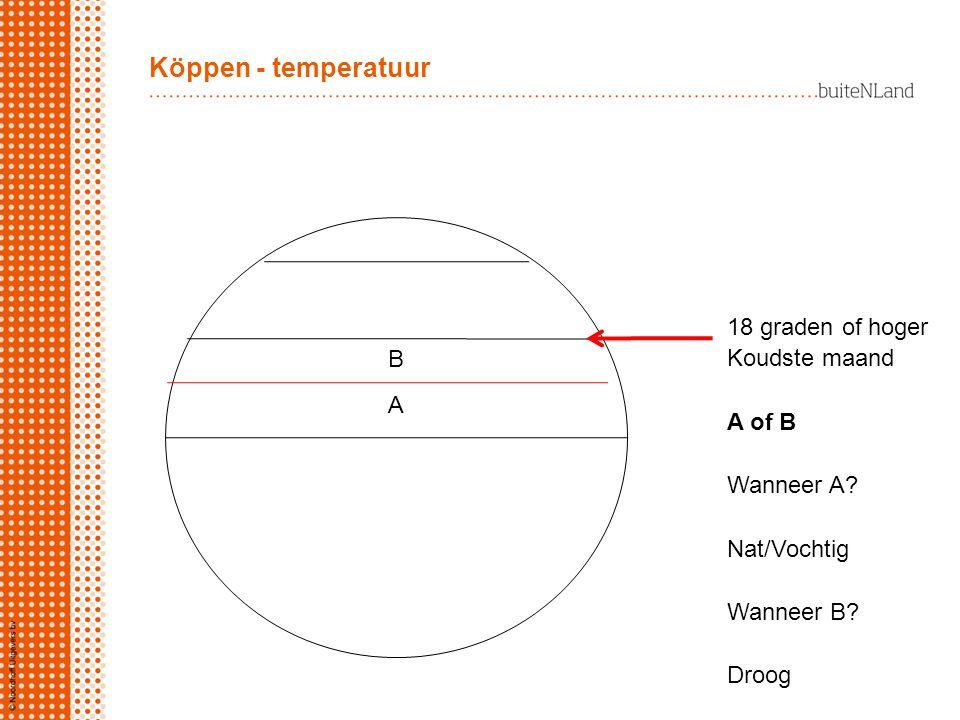 Köppen - temperatuur 18 graden of hoger Koudste maand B A of B A