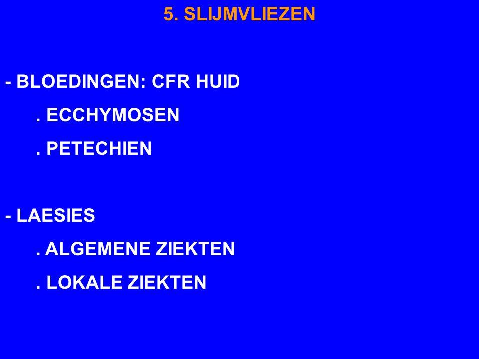 5. SLIJMVLIEZEN - BLOEDINGEN: CFR HUID. . ECCHYMOSEN. . PETECHIEN. - LAESIES. . ALGEMENE ZIEKTEN.
