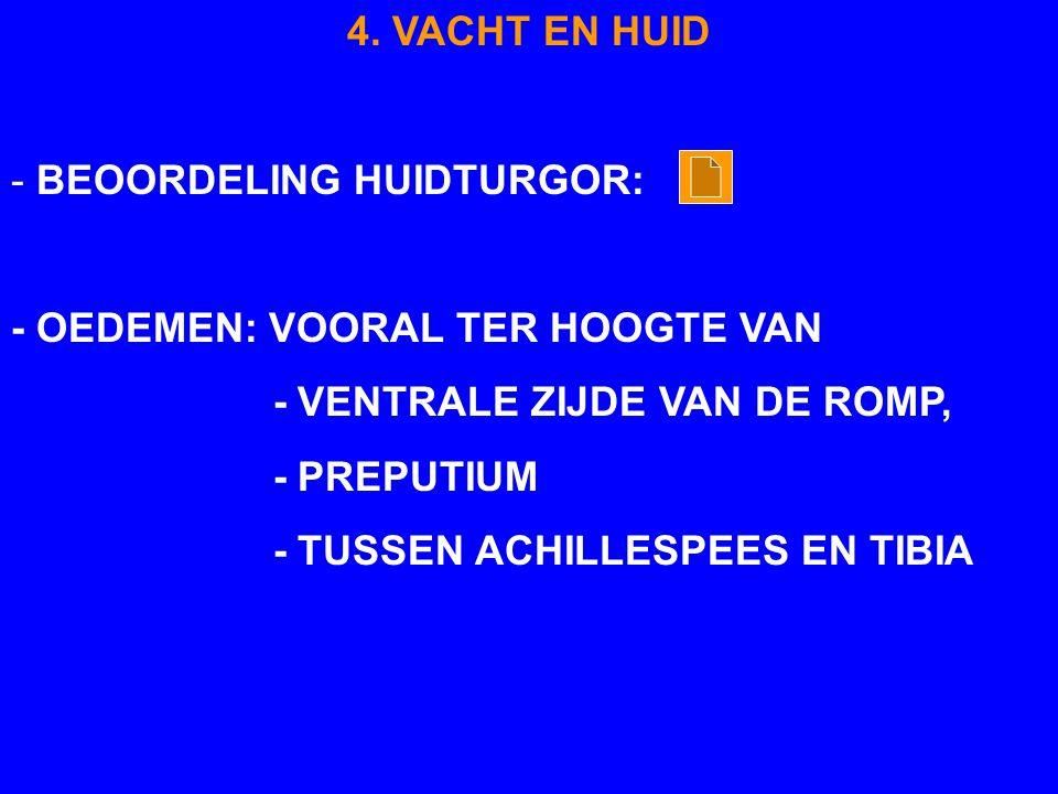 4. VACHT EN HUID - BEOORDELING HUIDTURGOR: - OEDEMEN: VOORAL TER HOOGTE VAN. - VENTRALE ZIJDE VAN DE ROMP,