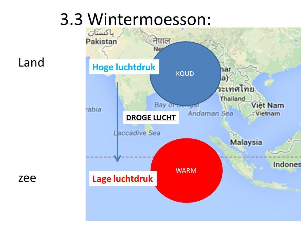3.3 Wintermoesson: Land zee Hoge luchtdruk Lage luchtdruk DROGE LUCHT