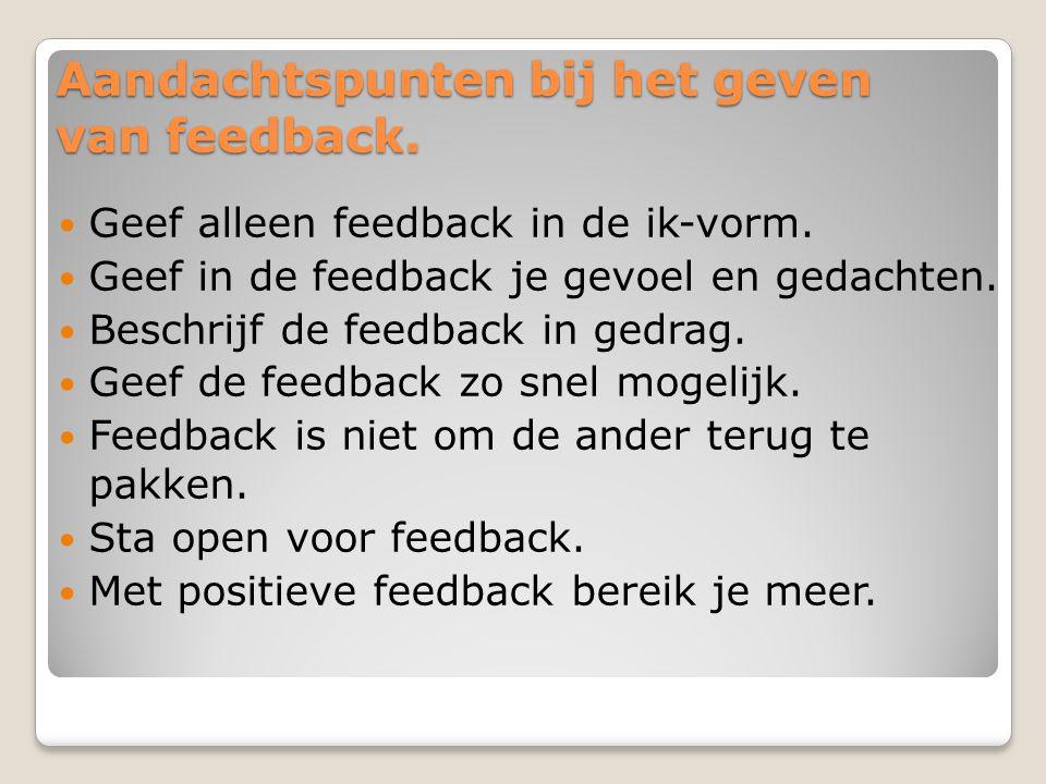 Aandachtspunten bij het geven van feedback.