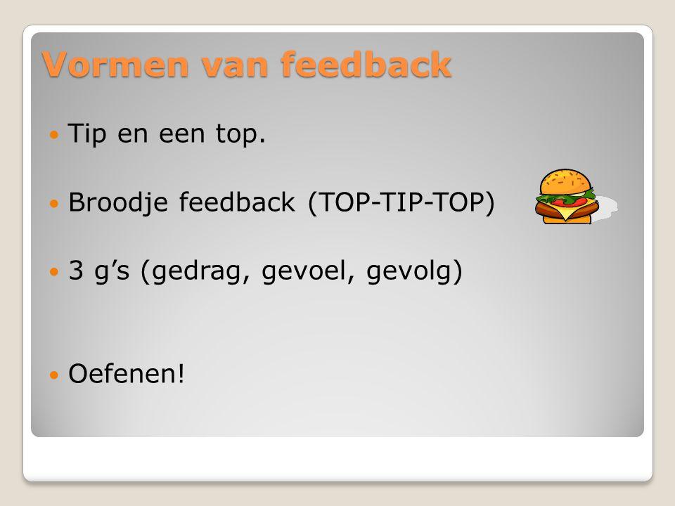 Vormen van feedback Tip en een top. Broodje feedback (TOP-TIP-TOP)
