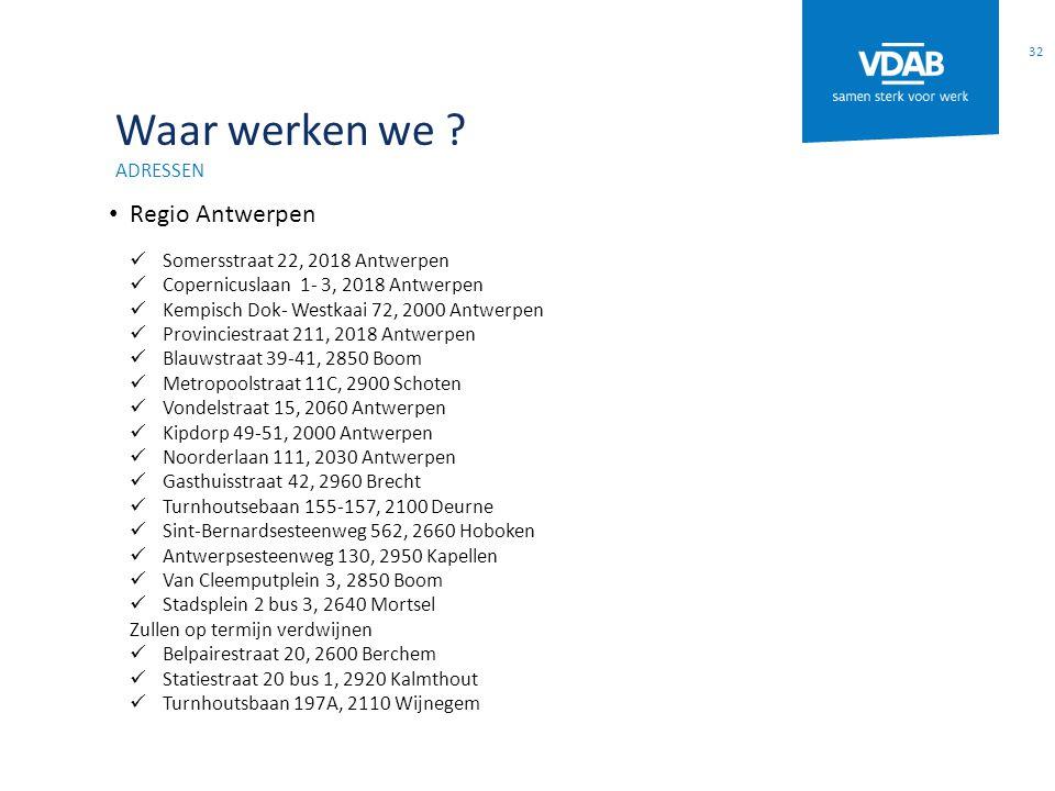Waar werken we Regio Antwerpen adressen