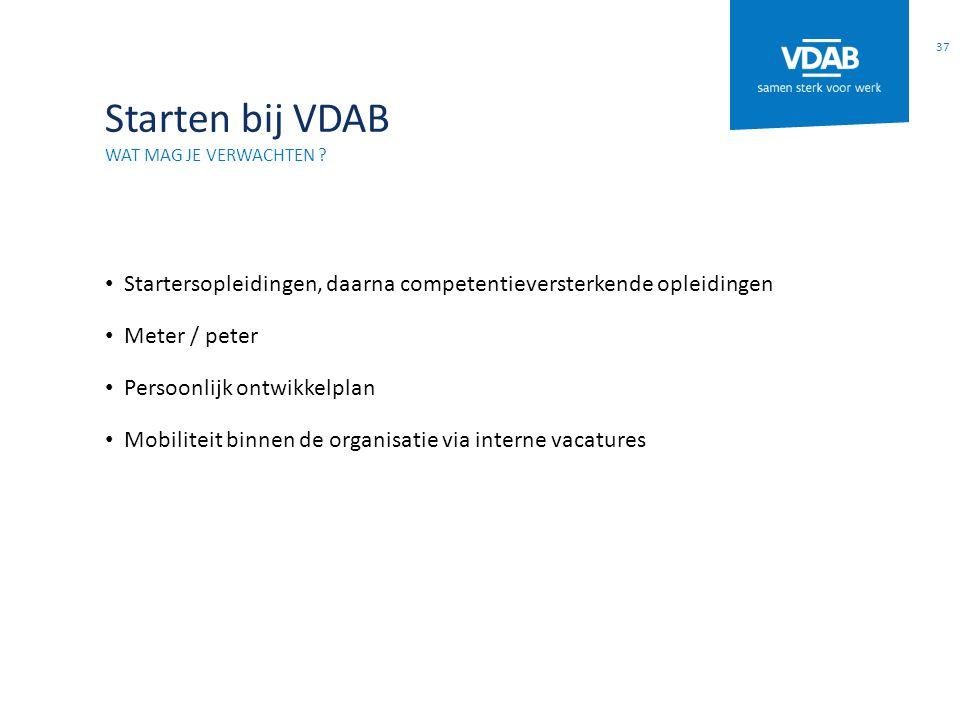 Starten bij VDAB Wat mag je verwachten Startersopleidingen, daarna competentieversterkende opleidingen.