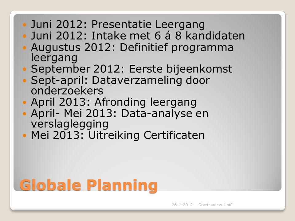 Globale Planning Juni 2012: Presentatie Leergang