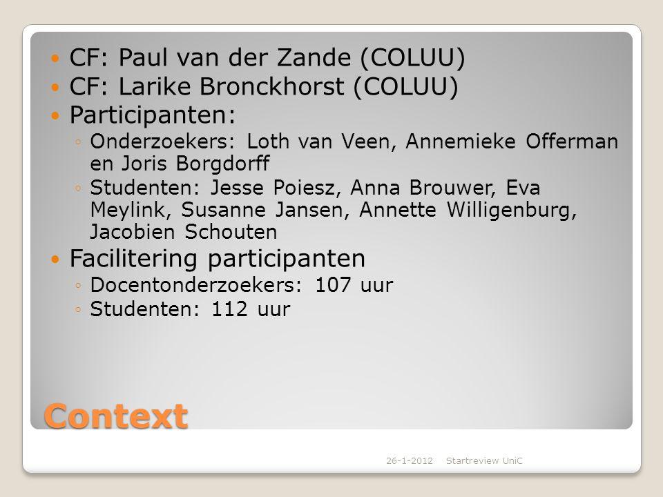 Context CF: Paul van der Zande (COLUU) CF: Larike Bronckhorst (COLUU)