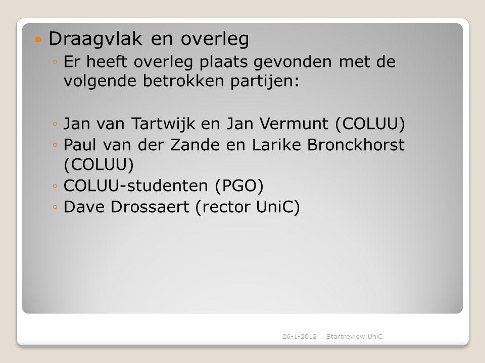 Draagvlak en overleg Er heeft overleg plaats gevonden met de volgende betrokken partijen: Jan van Tartwijk en Jan Vermunt (COLUU)