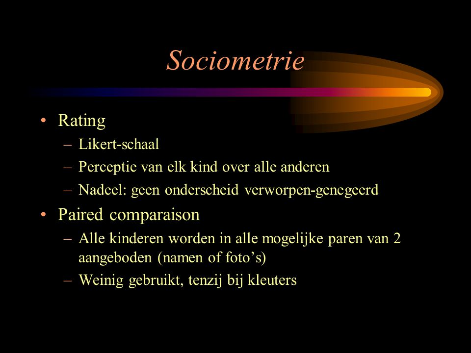 Sociometrie Rating Paired comparaison Likert-schaal