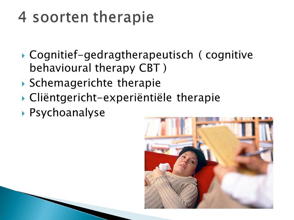 4 soorten therapie Cognitief-gedragtherapeutisch ( cognitive behavioural therapy CBT ) Schemagerichte therapie.