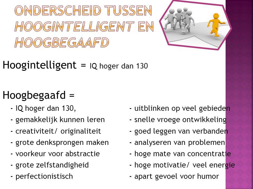 Onderscheid tussen hoogintelligent en hoogbegaafd
