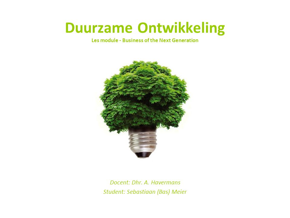 Duurzame Ontwikkeling Les module - Business of the Next Generation