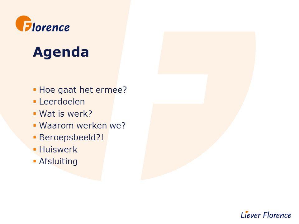 Agenda Hoe gaat het ermee Leerdoelen Wat is werk Waarom werken we
