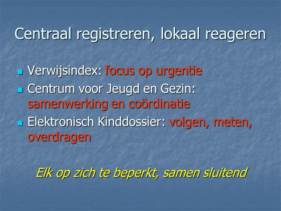 Centraal registreren, lokaal reageren
