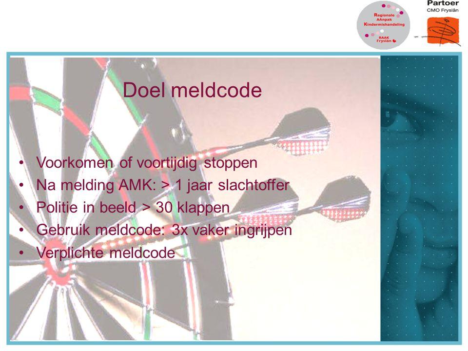 Doel meldcode Doel meldcode Voorkomen of voortijdig stoppen