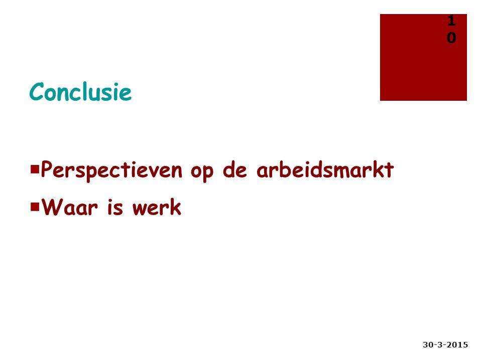 Conclusie Perspectieven op de arbeidsmarkt Waar is werk 9-4-2017