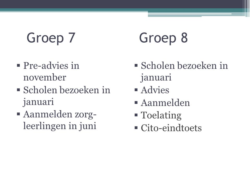 Groep 7 Groep 8 Pre-advies in november Scholen bezoeken in januari