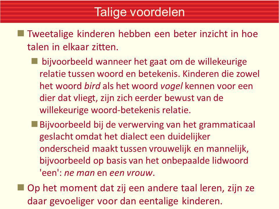 Talige voordelen Tweetalige kinderen hebben een beter inzicht in hoe talen in elkaar zitten.