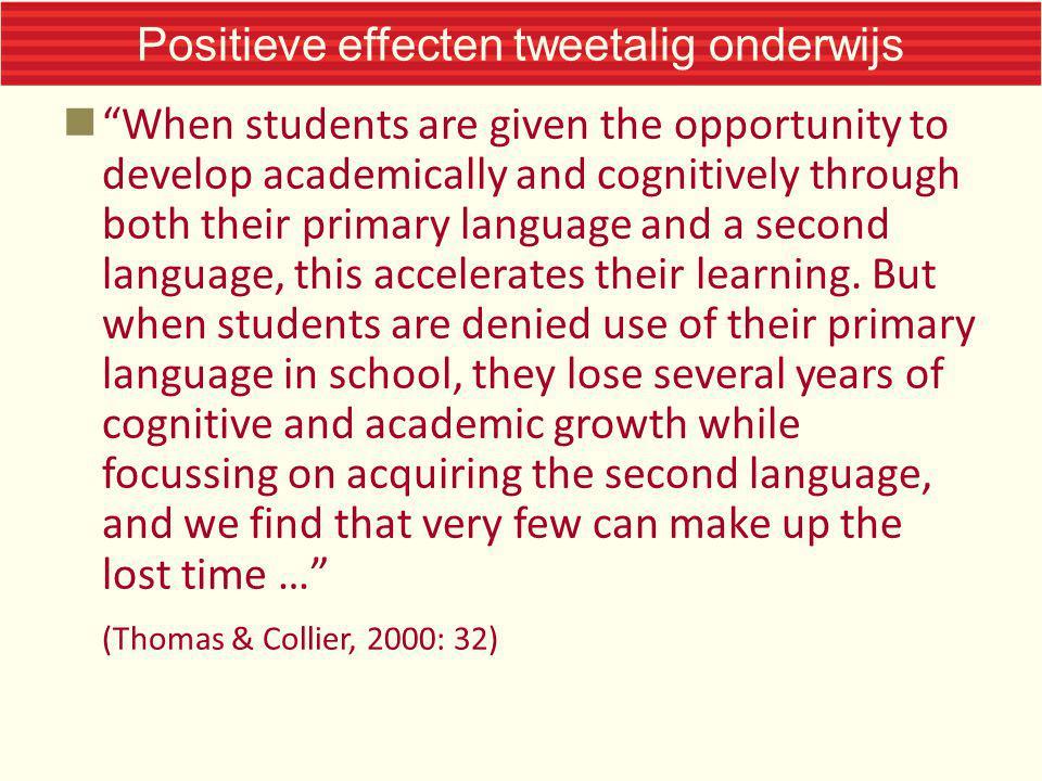 Positieve effecten tweetalig onderwijs