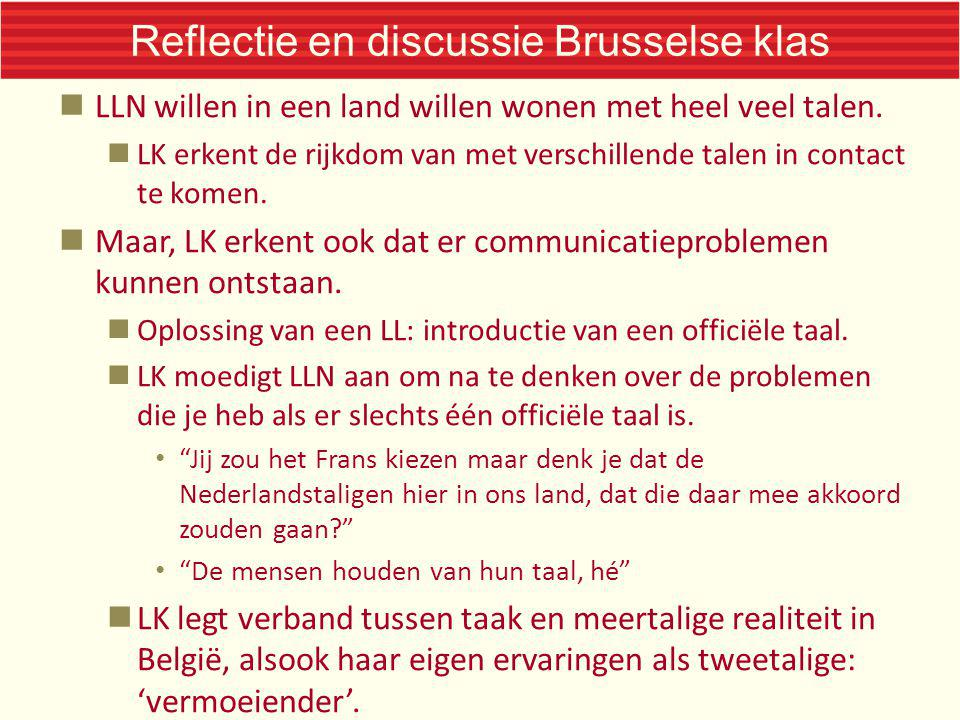 Reflectie en discussie Brusselse klas