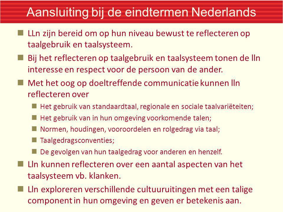 Aansluiting bij de eindtermen Nederlands