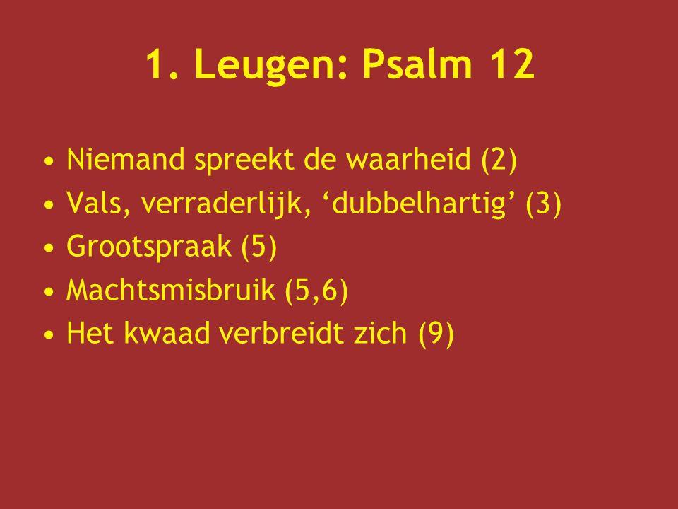 1. Leugen: Psalm 12 Niemand spreekt de waarheid (2)