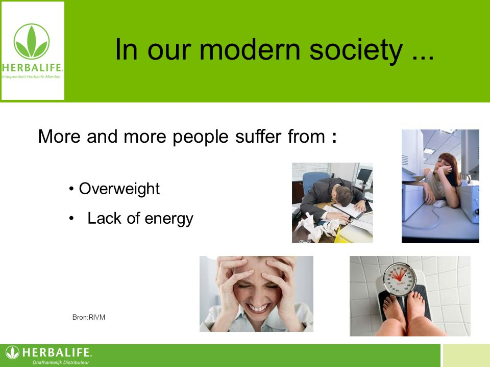 In our modern society ... More and more people suffer from :