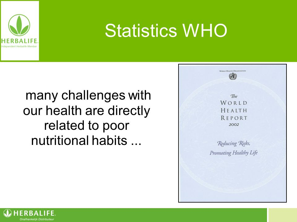 Statistics WHO many challenges with our health are directly related to poor nutritional habits ...