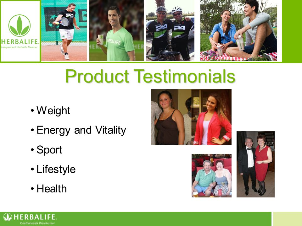 Product Testimonials Weight Energy and Vitality Sport Lifestyle Health