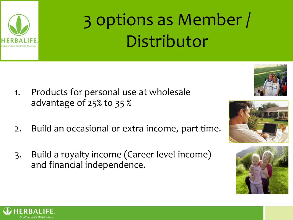 3 options as Member / Distributor