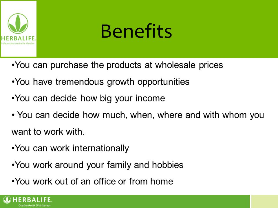 Benefits You can purchase the products at wholesale prices