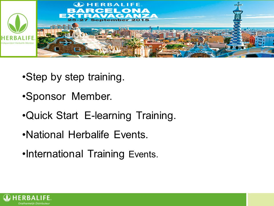 Step by step training. Sponsor Member. Quick Start E-learning Training. National Herbalife Events.