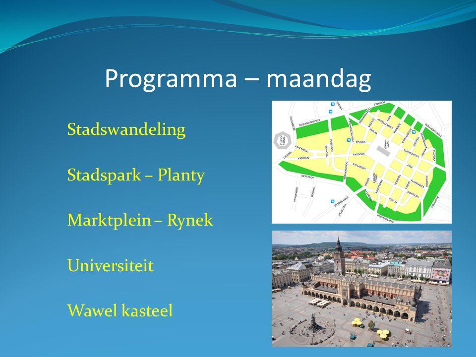 Programma – maandag Stadswandeling Stadspark – Planty