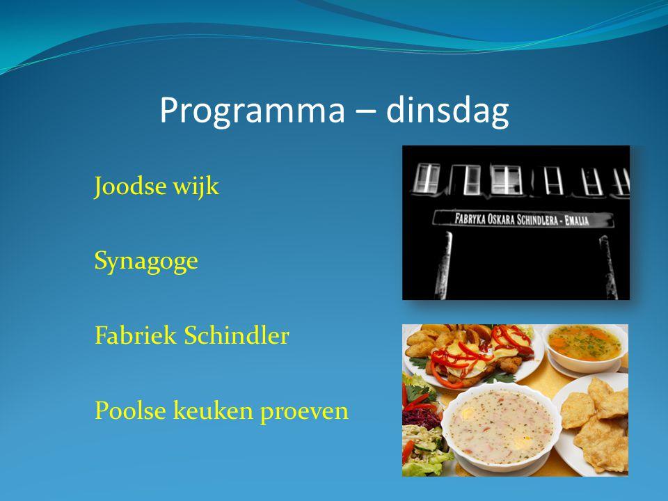Programma – dinsdag Joodse wijk Synagoge Fabriek Schindler