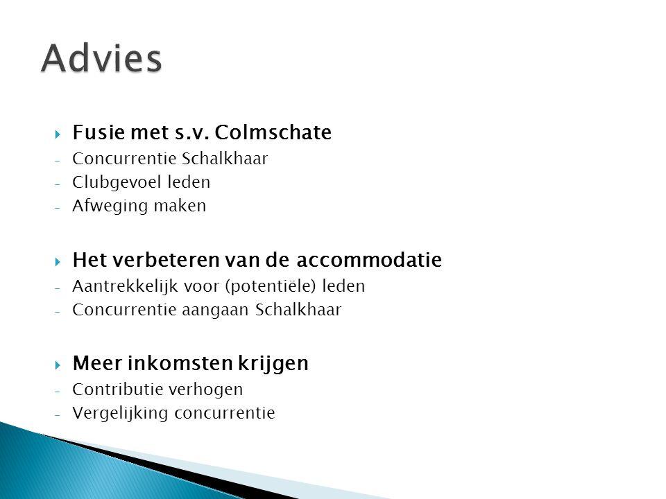 Advies Fusie met s.v. Colmschate Het verbeteren van de accommodatie