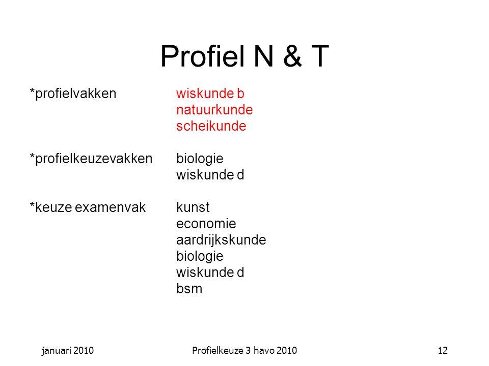 Profiel N & T *profielvakken wiskunde b natuurkunde scheikunde