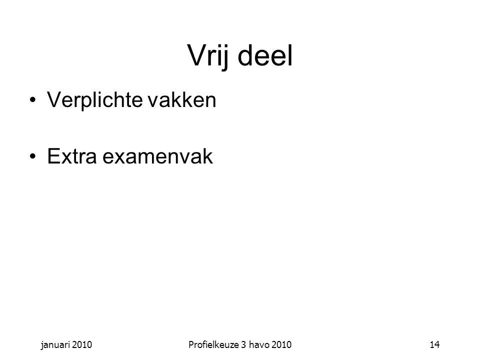 Vrij deel Verplichte vakken Extra examenvak januari 2010